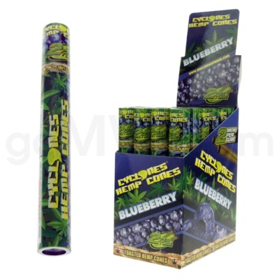 Cyclones Hemp Pre-Rolled Cones-Blueberry 2pk 24ct/bx