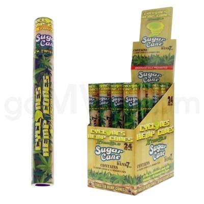 Cyclones Hemp Pre-Rolled Cones-Sugar Cane 2pk 24ct/bx