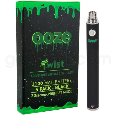 Ooze Twist Battery 1100mah/3.3v-4.8v 5ct/display BLACK