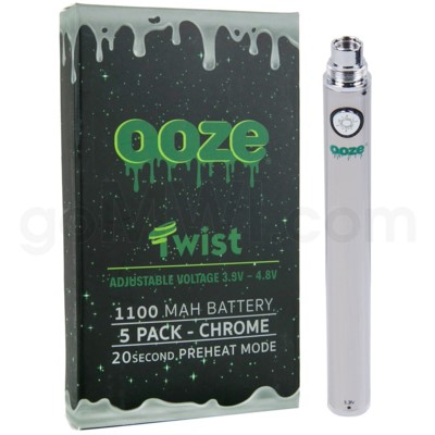 Ooze Twist Battery 1100mah/3.3v-4.8v 5ct/display CHROME