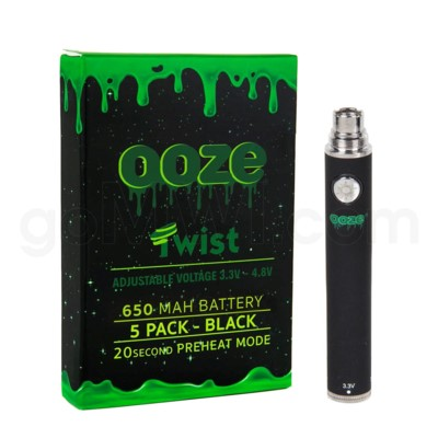 Ooze Twist Battery 650mah/3.3v-4.8v 5ct/display BLACK