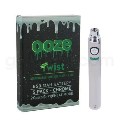 Ooze Twist Battery 650mah/3.3v-4.8v 5ct/display CHROME
