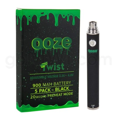 Ooze Twist Battery 900mah/3.3v-4.8v 5ct/display BLACK