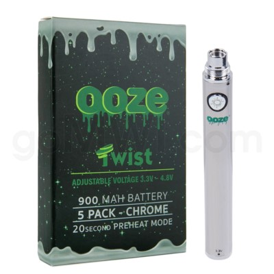Ooze Twist Battery 900mah/3.3v-4.8v 5ct/display CHROME