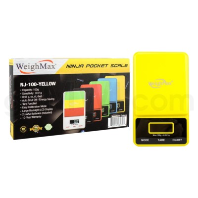 WeighMax NJ-100 100g x 0.01g Pocket Scales - Yellow