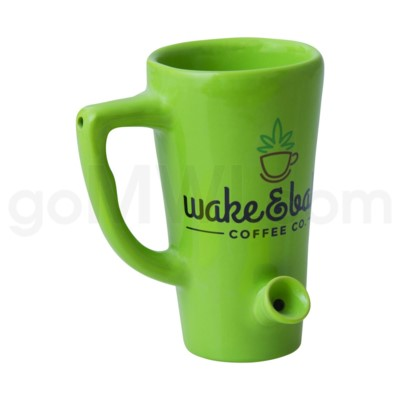 Green Porcelain Leaf Waterpipe Mug 24/cs