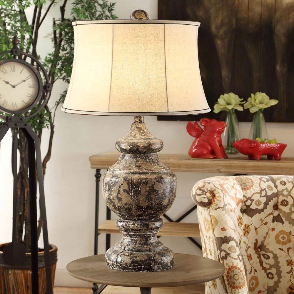 two new 34 aged old world resin corbel table lamp linen shad