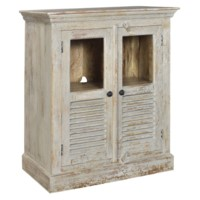 Bengal Manor Mango Wood Aged Ash 2 Door Louvered and Glass Cabinet