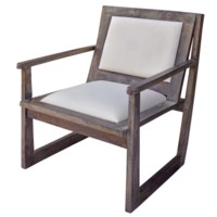 Bengal Manor Charcoal Grey Mango Wood Accent Chair w/ White Leather