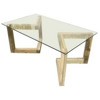 Bengal Manor Angled Acacia Wood and Glass Rectangle Cocktail Table