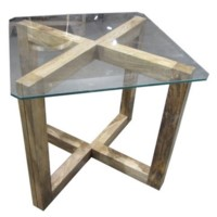 Bengal Manor Angled Acacia Wood and Glass Rectangle End Table