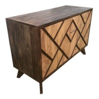 Bengal Manor 2 Door Geometric Design 2 Tone Acacia Wood Cabinet