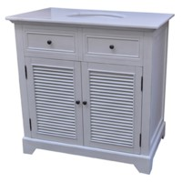 "Cottage White 2 Louvered Doors 36"" Vanity Sink"