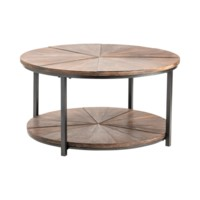 JACKSON ROUND METAL AND RUSTIC WOOD COCKTAIL TABLE