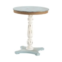 Sea Isle Two Tone Rustic Coastal Wood and Rope Apron Accent Table