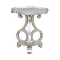 Adriana Brushed Silver Scalloped Side Table