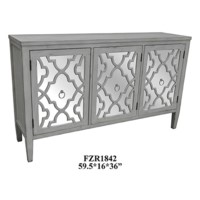 Marissa Antique White Pattern Mirror 3 Door Sideboard