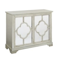 Camille Silver Leaf 2 Mirrored Door Quatrefoil Pattern Cabinet