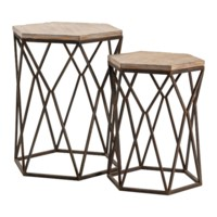 Buena Vista Rustic Metal and Wood Set of Tables
