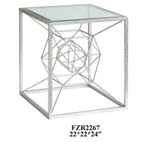 Hollywood Dabbed Silver Leaf Accent Table