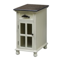 White River 1 Door Glass Chairside, 1 Drawer Trout Hardware