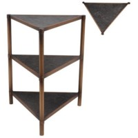 Triangle Antique Gold and Mosaic Tile Table
