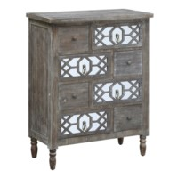 Colton Rustic Wood and Mirror 4 Drawer Chest