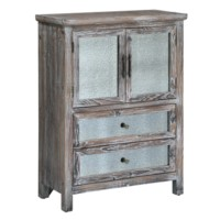 Jackson Rustic Wood and Antique Mirror 2 Drawer, 2 Door Cabinet