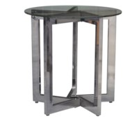 Emory 5 Leg Nickel Accent Table w/ Glass Top