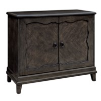 Linden 2 Door Shaped Recessed Panel Cabinet in Weathered Chestnut Finish