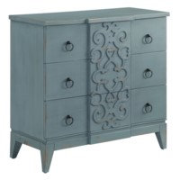 Roslyn 3 Drawer Fretwork Design Chest in Cerulean Finish