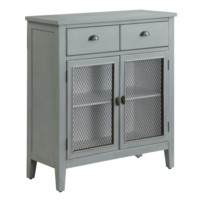 Rowley Powder Blue and Metal 2 Drawer, 2 Door Cabinet