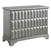 Roxbury 2 Door Raised Panel Antiqued Silver Leaf Cabinet
