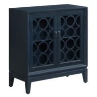 Portsmouth Circle Pattern 2 Glass Door Indigo Cabinet
