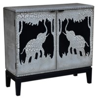 Serengetti 2 Door Antique Crackled Safari Scene Cabinet