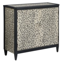 Safari 2 Door Grey Leopard Print Cabinet