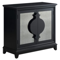 Xander Black 2 Door Antique Mirror Shaped Handle Cabinet