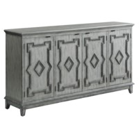 Normandy 4 Door Antique White Sideboard with Grey Fretwork Design