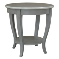 Tembroke Grey and White Trim Accent Table