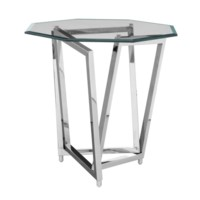 Bentley Chrome Three Overlaping Legs Accent Table w/ Beveled Mirror Top
