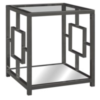 Bentley Chrome Rectangle Design End Table with Beveled Mirror Top
