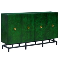 Wyndham Olive Ash Burl  4 Door Sideboard Green Finish w/ Metal Base