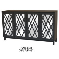 Newcastle Deep Grey 4 Door Geometric Pattern Sideboard