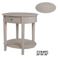 Annabelle Oval Brushed Linen 1 Drawer Accent Table