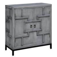 Hudson 2 Door Geometric Design Grey Cabinet with Metal Base