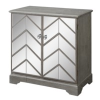 Lafayette Chevron Mirror and Wood 2 Door Cabinet
