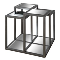 Park Avenue Multi-Level Metal and Mirror End Table