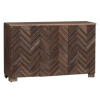 Jackson Raised 3 Door Chevron Rustic Wood Sideboard