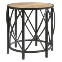 Van Buren Metal and Rustic Wood End Table