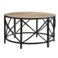 Van Buren Metal and Rustic Wood Cocktail Table